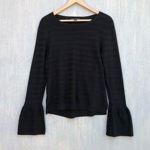 Ann Taylor stripe texture bell sleeve sweater L